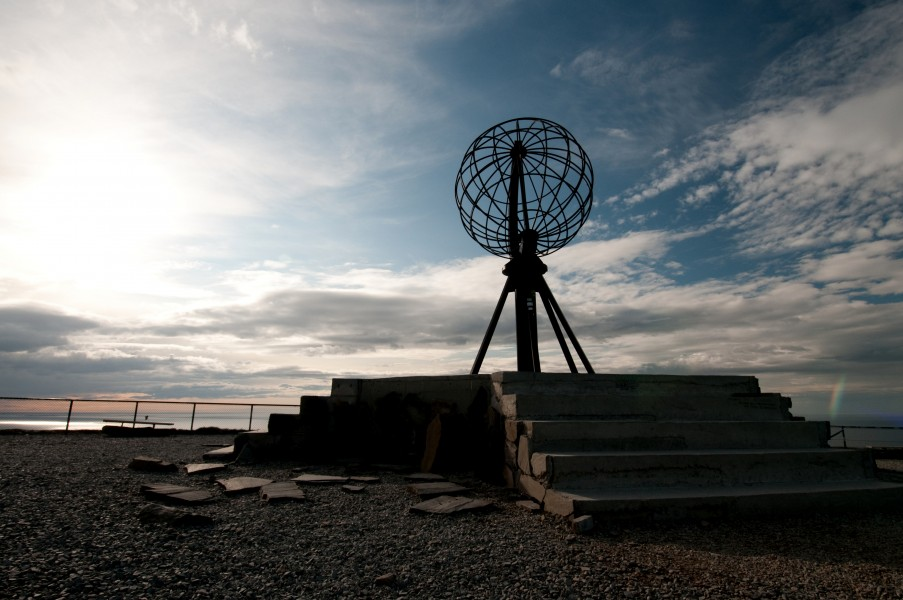 North Cape of europe in Norway under midnightsun