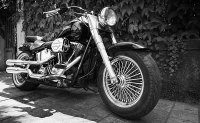 Ajaccio, France - July 6, 2015:  Black Harley Davidson motorcycle with chromed details stands parked